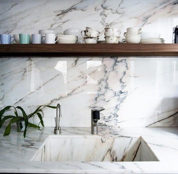 Marmor kjøkken interiør