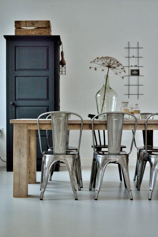 Tolix stol i sølv metall