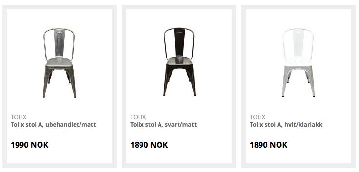 Tolix stol i ulike farger nettbutikk