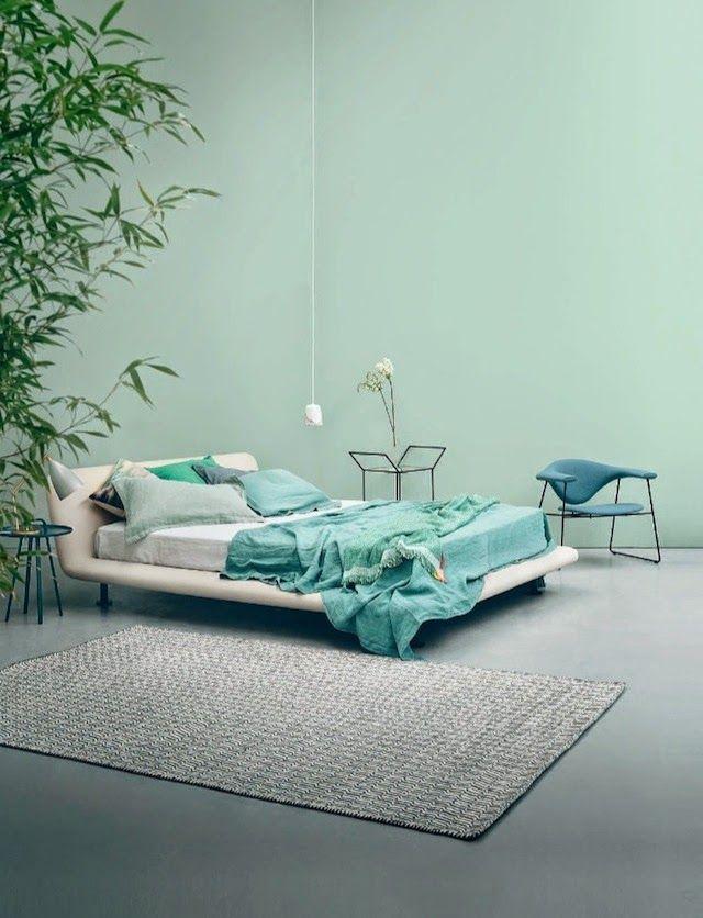 Grønne vegger på soverommet moderne