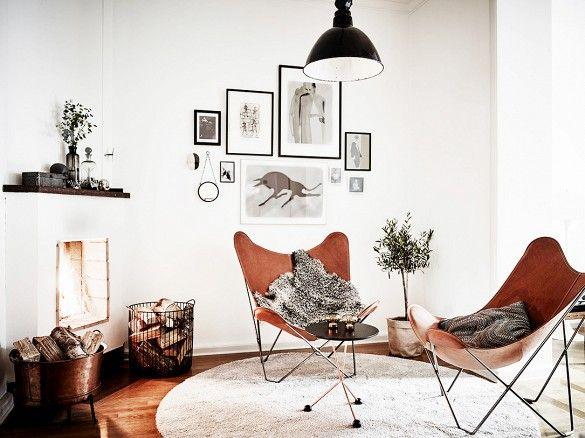Lekker lor designstol i hvit stue