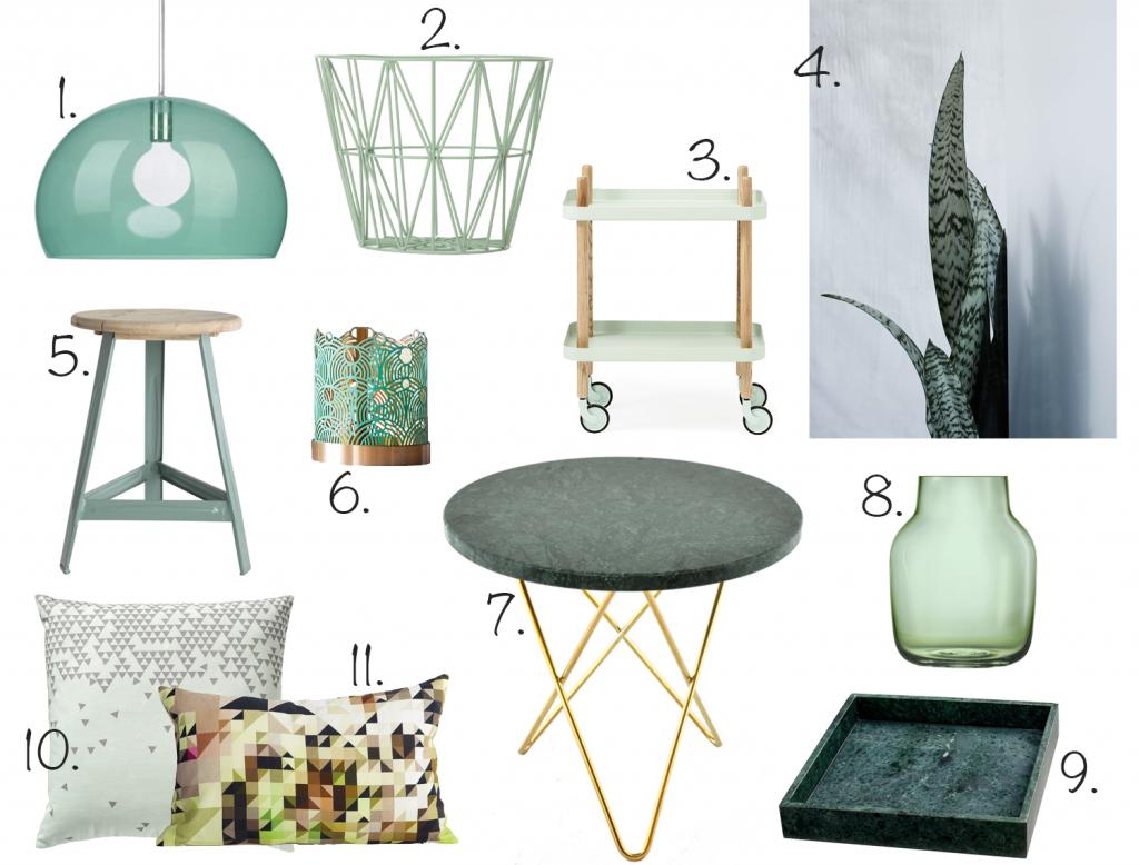 kollasj av grønne og trendy møbler og interiør