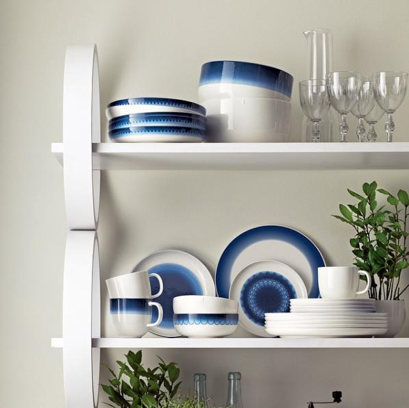 Servise retro blå blått og hvitt trend 2015