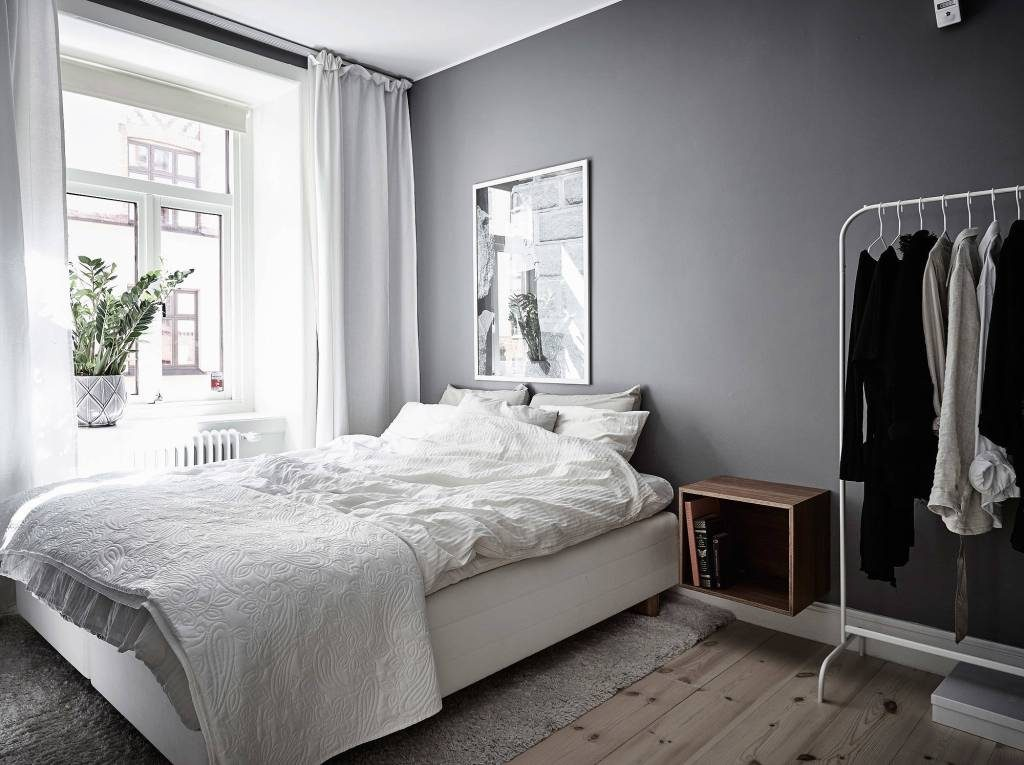 Soverom grå og hvit