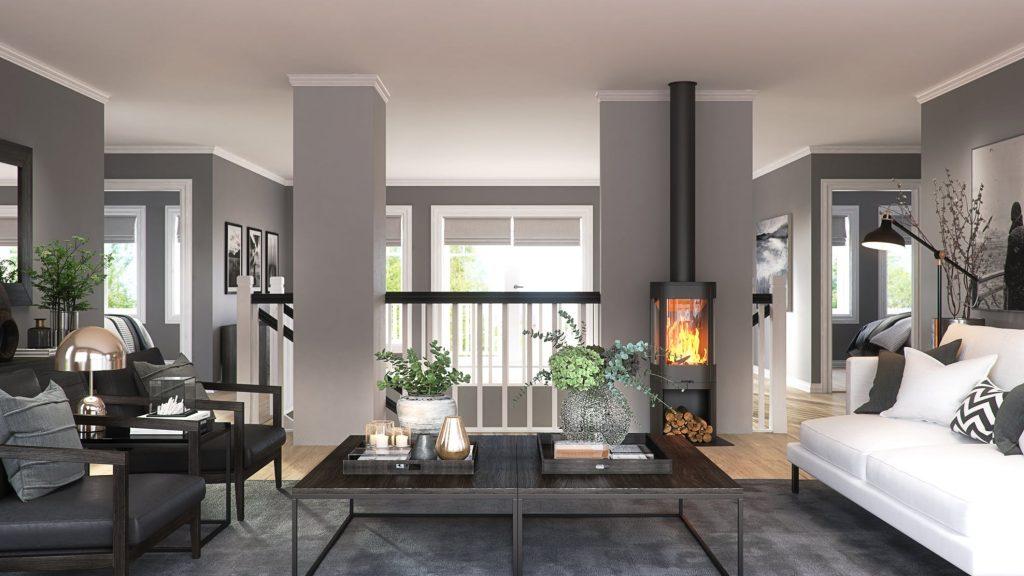 klassisk moderne stue interiør